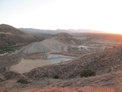 The is the abandoned Mohave River Dam. There are houses down there now.