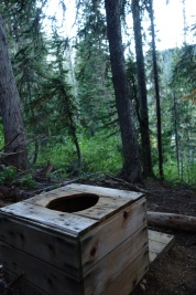 A pit toilet with a view