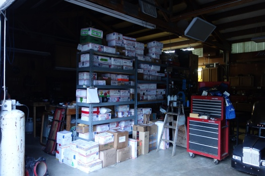 The Dinsmore's garage full of hiker resupplies.