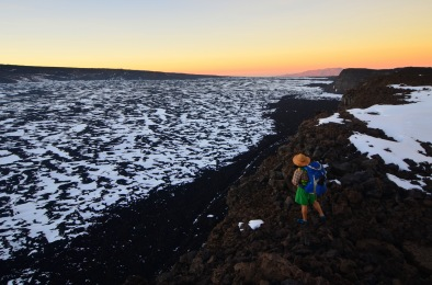 Justin looking out at Mokuʻāweoweo, the summit crater & Mauna Kea off in the distance.