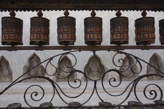 Prayer wheels at the Swayambhunath Stupa