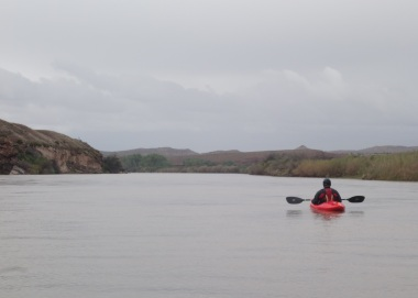 The six mile flat water paddle out. It went quick.